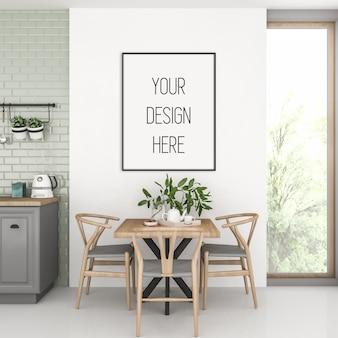 Maquete de pôster, interior de cozinha com moldura vertical