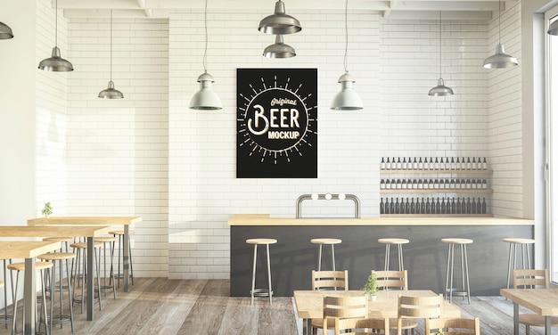 Maquete de pôster moderno de café renderização em 3d