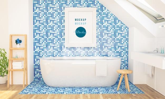 Maquete de pôster na parede de um banheiro no sótão