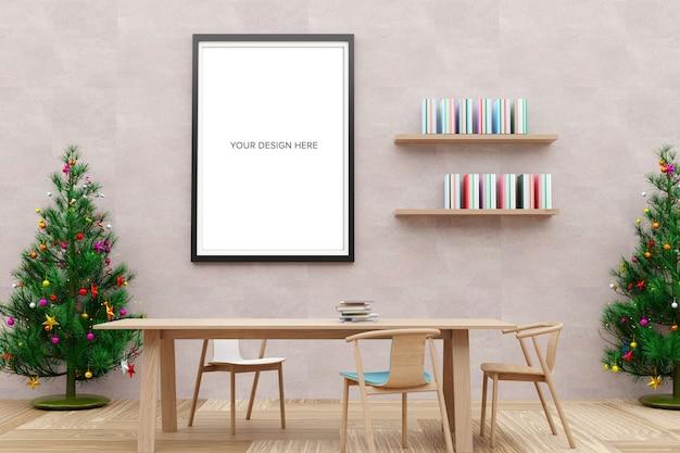Maquete de pôster na sala de leitura com árvore de natal