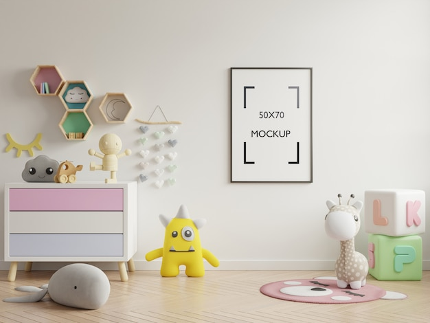 Maquete de pôster no interior do quarto de criança