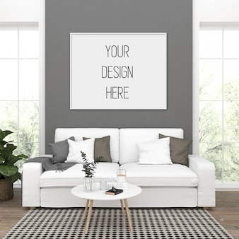 Maquete de pôster, sala de estar com moldura horizontal
