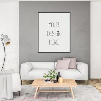 Maquete de pôster, sala de estar com moldura vertical, interior escandinavo