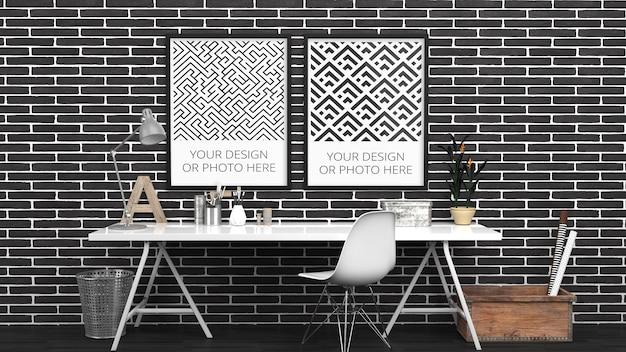 Maquete de pôsteres verticais em tijolo preto escritório doméstico contemporâneo