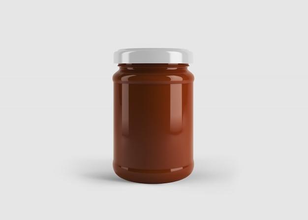 Maquete de pote de geléia ou molho vermelho com etiqueta de forma personalizada em cena de estúdio limpo