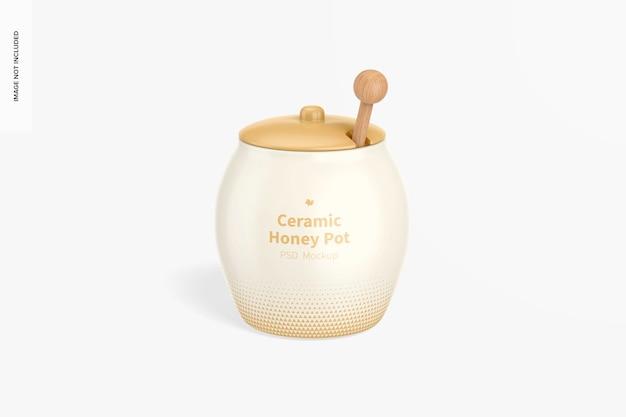 Maquete de pote de mel de cerâmica, vista frontal
