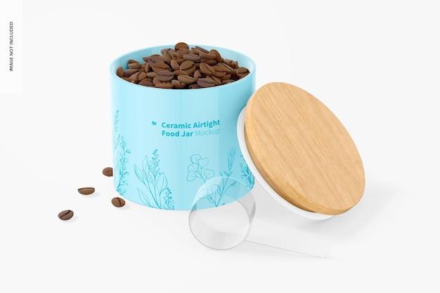 Maquete de pote para alimentos hermético de cerâmica, aberto