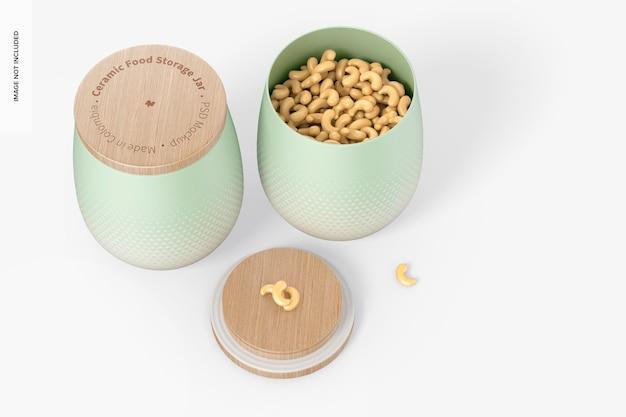 Maquete de potes de armazenamento de alimentos em cerâmica, aberto e fechado