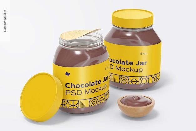 Maquete de potes de chocolate para barrar