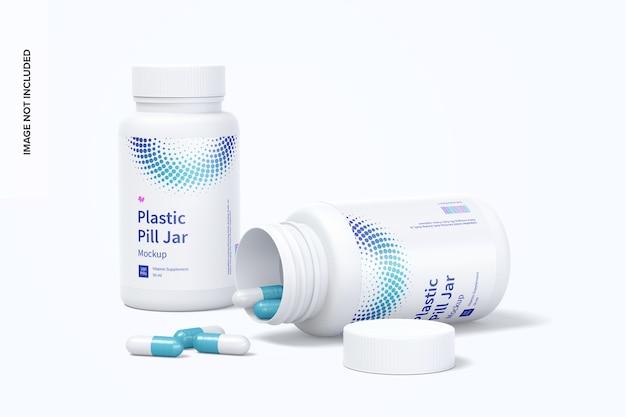Maquete de potes de comprimidos de plástico