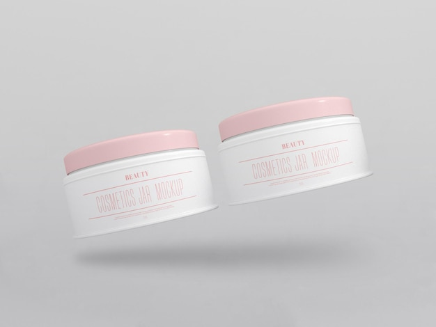 Maquete de potes de creme cosmético