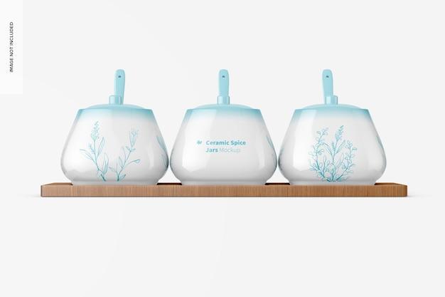 Maquete de potes de especiarias de cerâmica, vista frontal