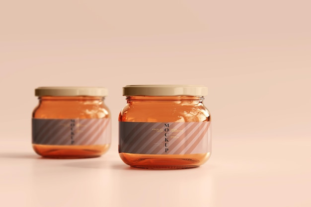 Maquete de potes de geléia de vidro