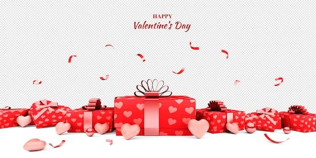 Maquete de presentes e corações para o dia dos namorados em renderização 3d