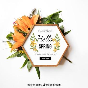 Maquete de primavera com moldura hexagonal