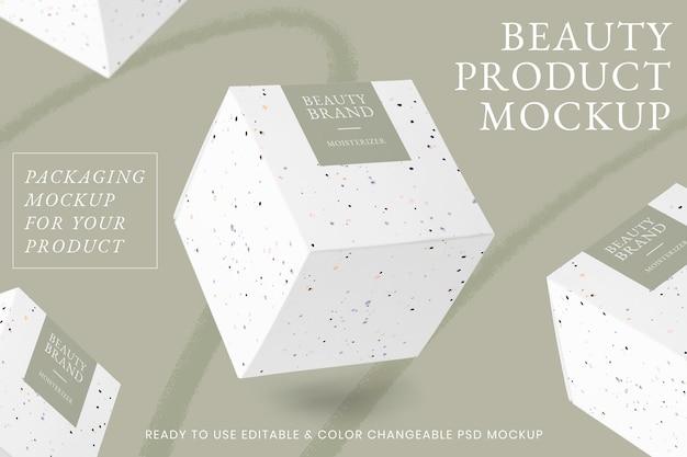 Maquete de produto de beleza psd com arte em giz de cera preto