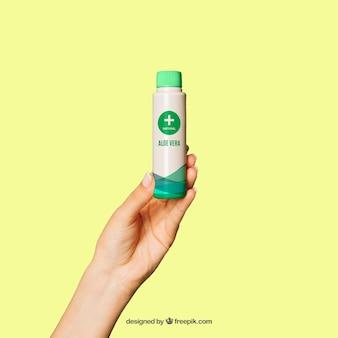 Maquete de produtos cosméticos com mão