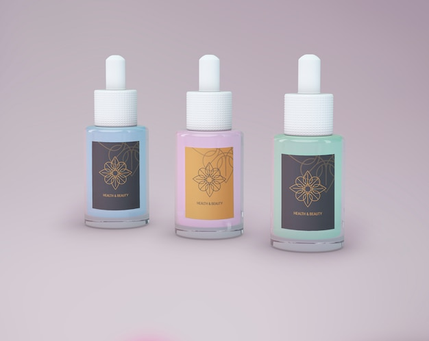 Maquete de produtos de beleza de três garrafas