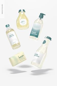 Maquete de produtos para banho e corpo, flutuante