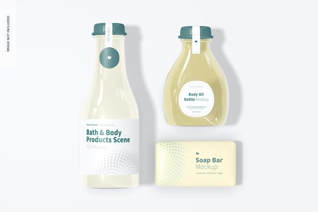 Maquete de produtos para banho e corpo