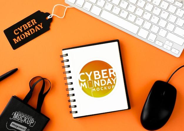 Maquete de promoção cibernética de segunda-feira de vista superior