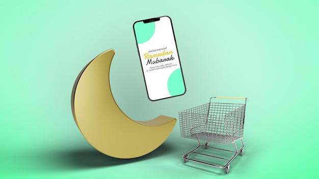 Maquete de promoção de aplicativo de smartphone renderizado em 3d ramadan