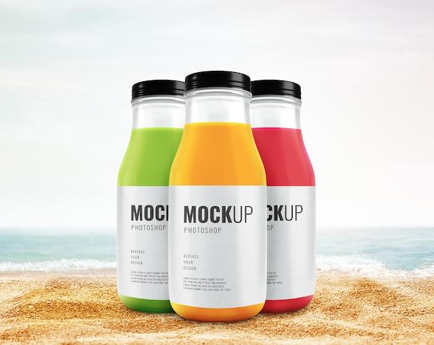 Maquete de propaganda de garrafa de suco