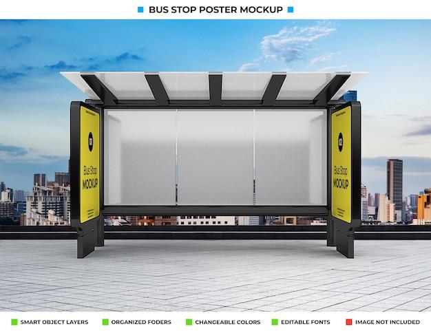 Maquete de propaganda de parada de ônibus isolada em rua da cidade