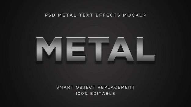 Maquete de psd de efeito de texto em metal 3d