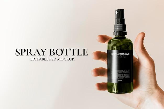 Maquete de psd de frasco spray verde estilo minimalista