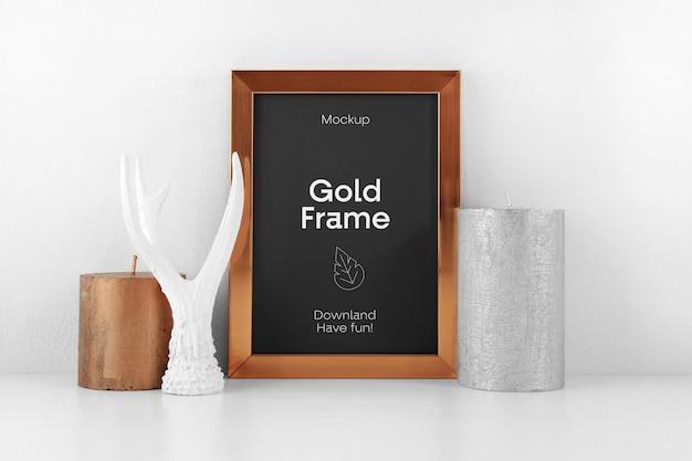 Maquete de psd de moldura de ouro