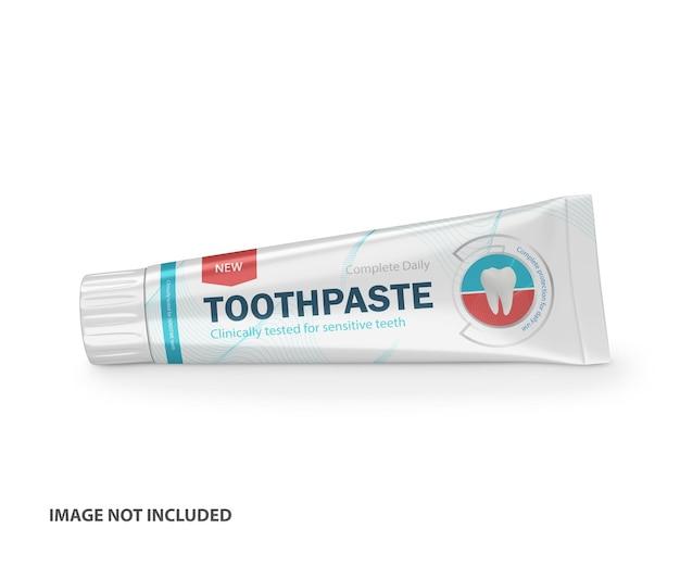 Maquete de psd de tubo de plástico de pasta de dente 3d