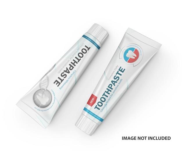 Maquete de psd de tubos de plástico de pasta de dente 3d