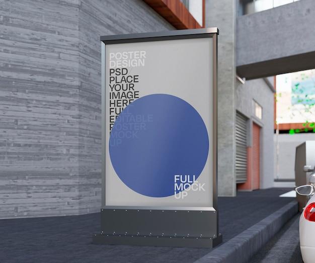 Maquete de publicidade ao ar livre
