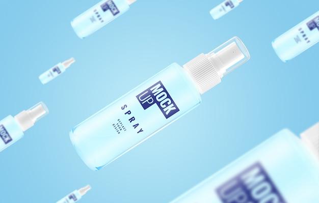 Maquete de publicidade com mosca em spray