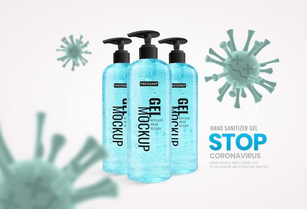 Maquete de publicidade de anti-vírus de bomba de garrafa de gel