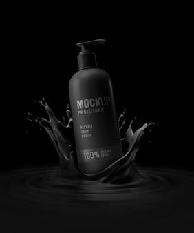 Maquete de publicidade de bomba de garrafa preta moderna luxuosa