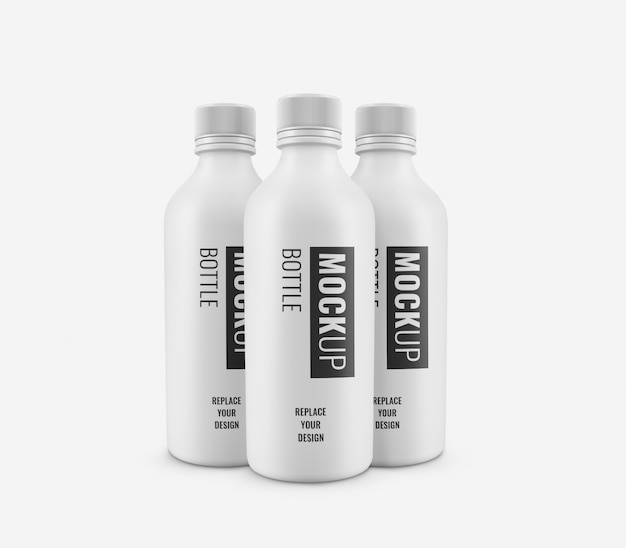 Maquete de publicidade de garrafa branca realista
