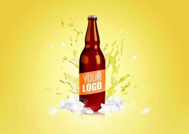 Maquete de publicidade de garrafa de cerveja splash