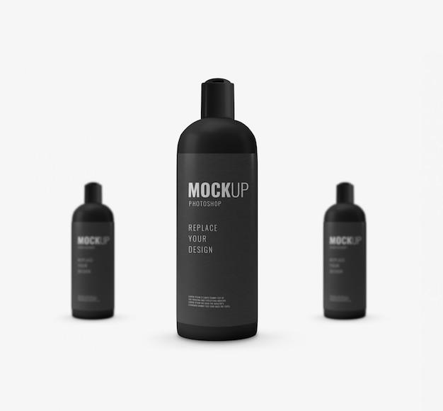 Maquete de publicidade de garrafa de tampa preta