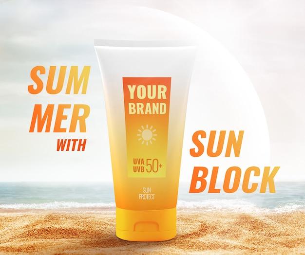 Maquete de publicidade de praia creme de proteção solar creme
