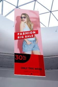 Maquete de publicidade de shopping de moda grande venda