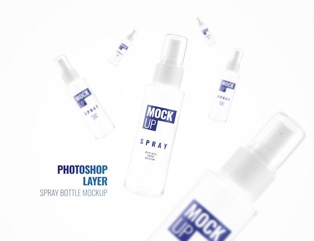 Maquete de publicidade de spray de álcool renderização em 3d realista