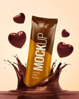 Maquete de publicidade do dia dos namorados com respingos de chocolate