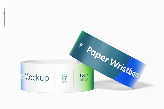 Maquete de pulseiras de papel, vista frontal