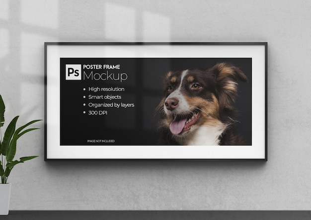 Maquete de quadro 3d realista com pôster de parede no interior