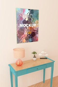 Maquete de quadro acima pequena mesa