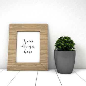 Maquete de quadro bonito com planta
