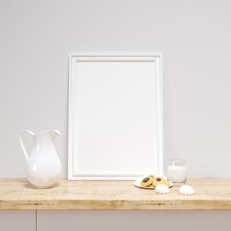Maquete de quadro branco em um balcão da cozinha com deliciosos biscoitos