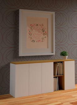 Maquete de quadro branco minimalista pendurado na parede